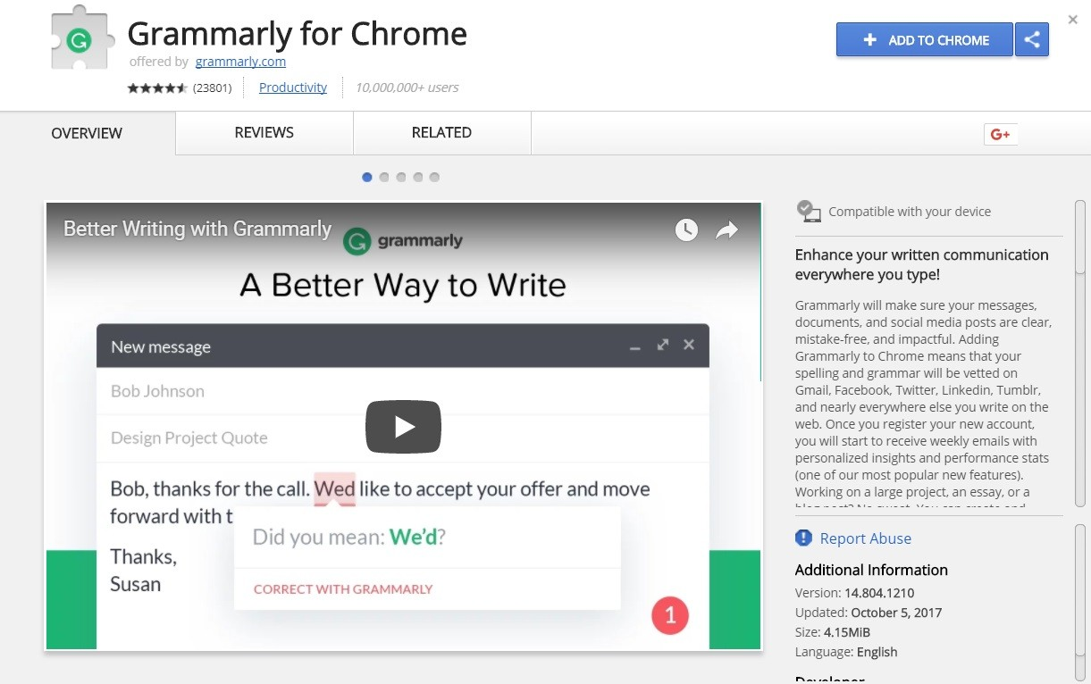 Grammarly - top 10 google chrome extensions - Dubaimonsters